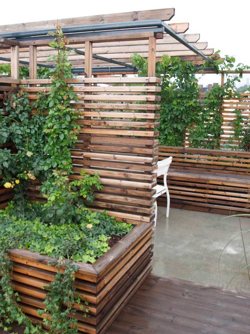 frodig liten terrasse