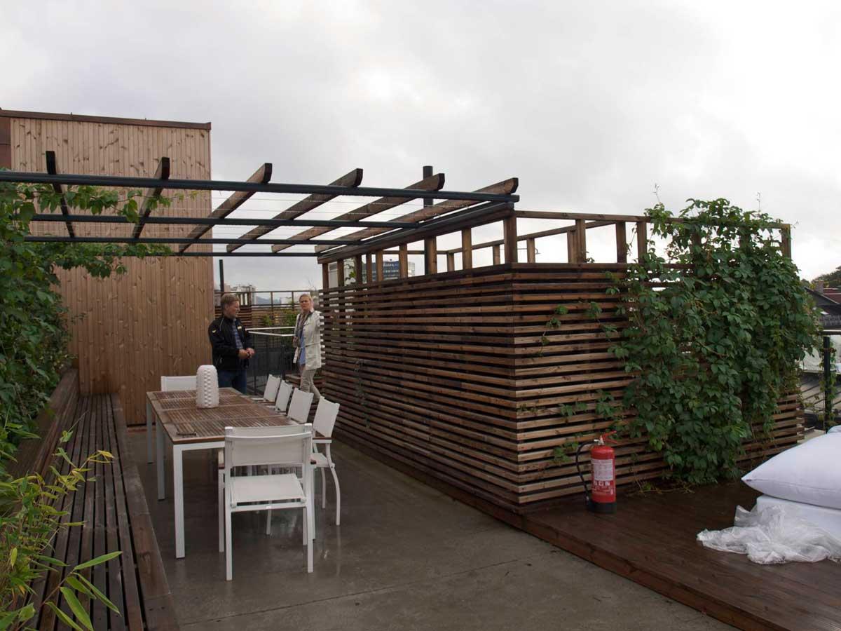 Takhage / takterrasse på et nytt boligprosjekt