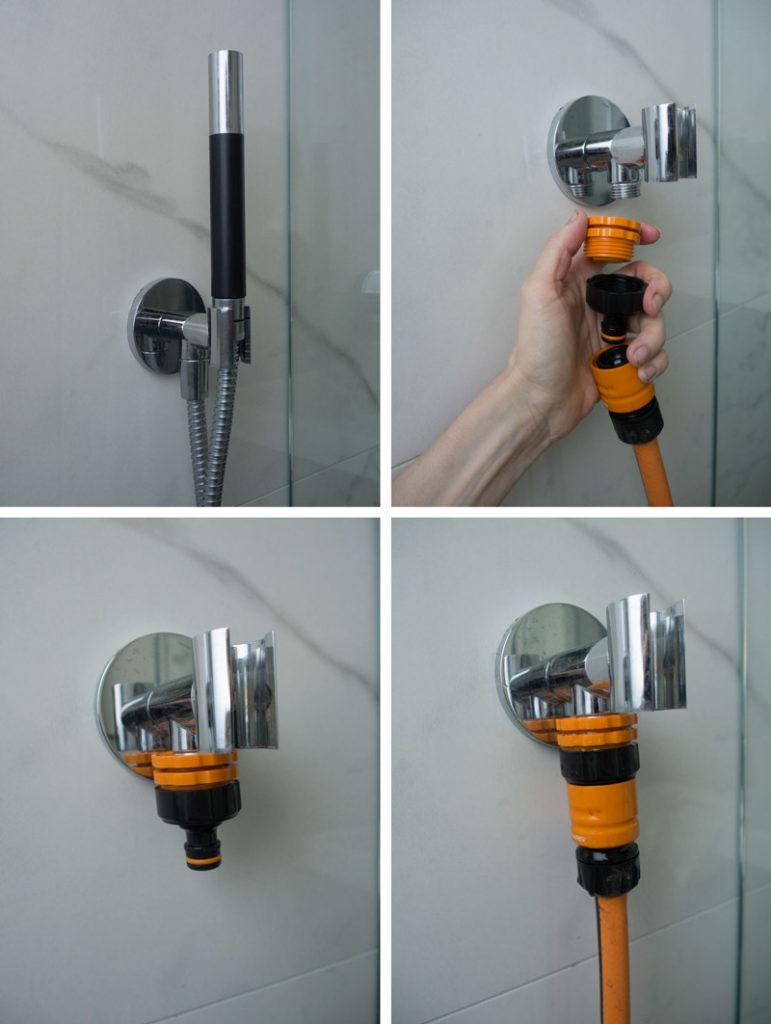krankobling for å koble vannslangen på dusj