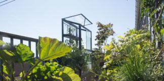 Kjøkkenhage på balkong, med plantekasser og balkongdrivhus