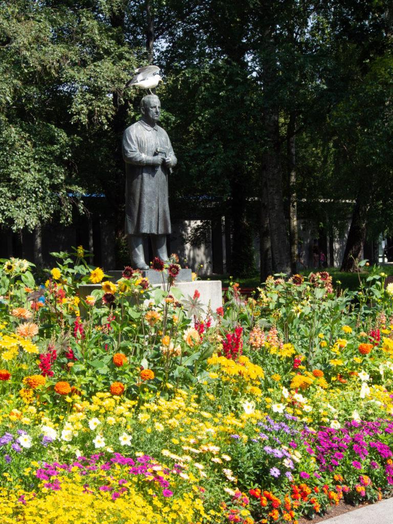 Blomsterbed med sommerblomster i Frognerparken