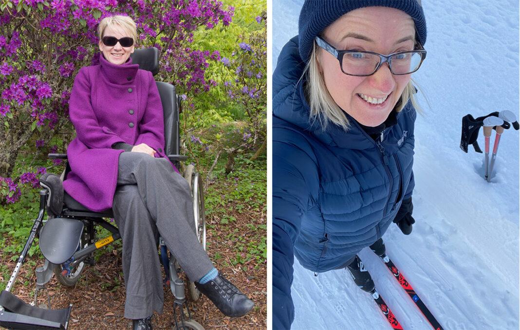 Bilder av Anne i rullestol og på ski
